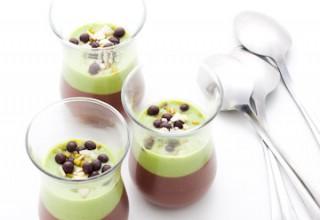 Duo de crèmes au chocolat et au pandan