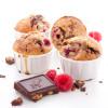 Muffins aux framboises, chocolat noir et pistaches caramélisées