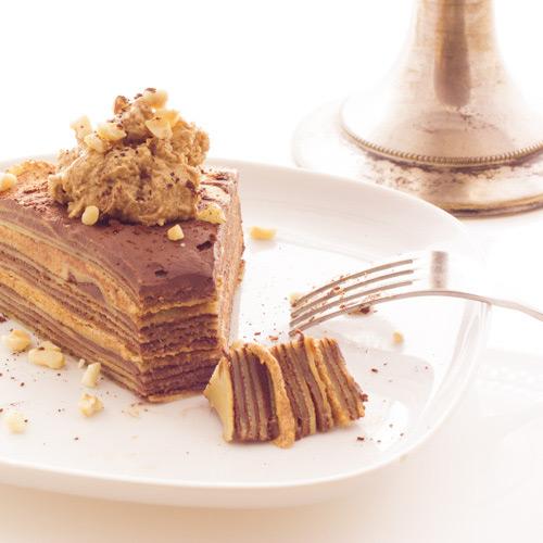 Gâteau de crêpes au chocolat et praliné